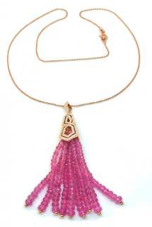 William & Son 18ct Rose Gold Diamond & Pink Sapphire Tassel Pendant