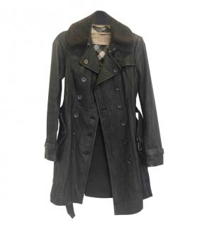 Burberry Brit Black Leather Shearling Trim Trench