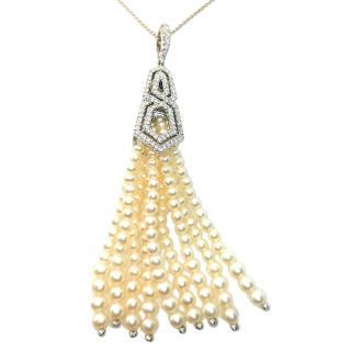 William & Son 18ct White Gold Diamond & Pearl Tassel Pendant