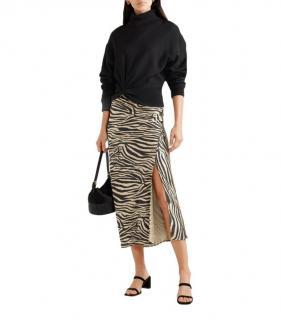 Anine Bing Zebra Print Silk Midi Skirt