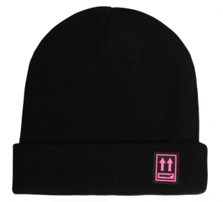 Off White Black & Pink Wool Beanie