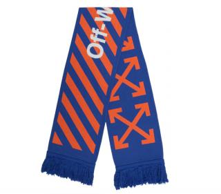 Off White Blue/Orange Directional Logo Scarf