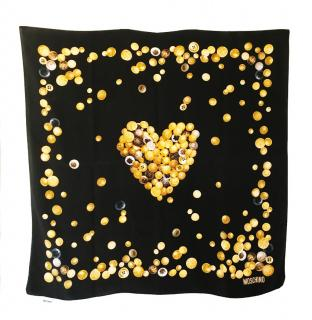 Moschino Black/Gold Button Print Silk Scarf