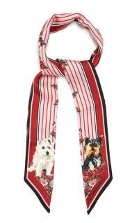 Dolce & Gabbana Red Striped Dog Print Silk Bandeau