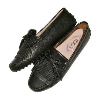 Tod's Black Leather Gommini Loafers