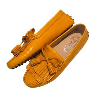 Tods Orange Leather Gommini Loafers
