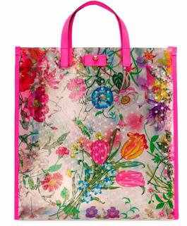 Gucci Leather Trimmed Flora Print Vinyl Tote Bag