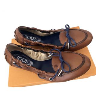 Tods Brown Dee Laced Ballerinas