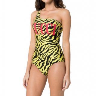 Gucci Yellow Zebra Print One Shoulder Swimsuit