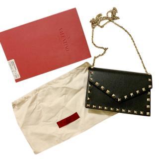 Valentino Black Leather Rockstud Envelope Clutch on Chain