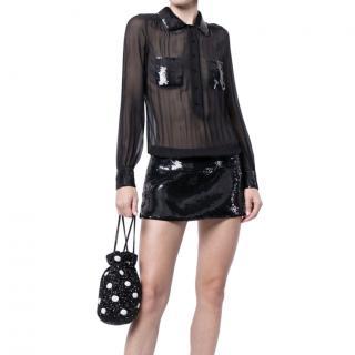 Louis Vuitton Sequin Panelled Sheer Mini Dress