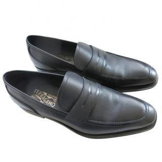 Ferragamo Black Leather Loafers