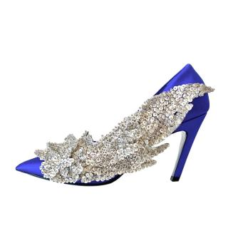 Balenciaga Blue Satin Crystal Embellished Slash Pumps