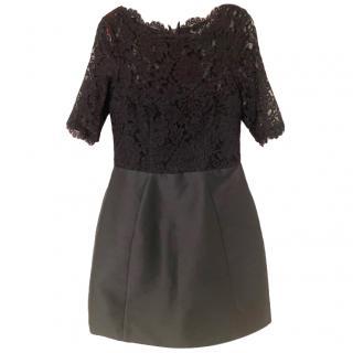 Monique L'Huillier Black Lace Panelled Mini Dress US8
