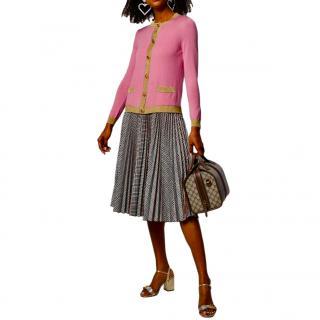 Gucci Pink & Gold Cashmere & Silk Knit Cardigan
