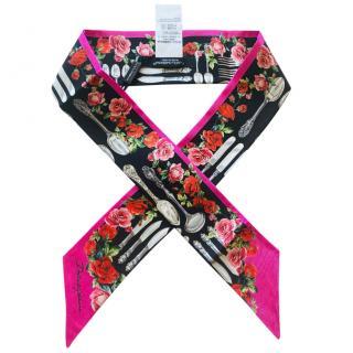 Dolce & Gabbana Floral Dinner Service Print Silk Bandeau