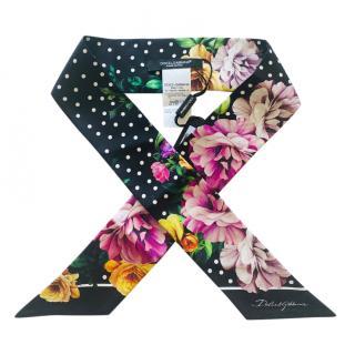 Dolce & Gabbana Polka Dot Floral Print Silk Bandeau