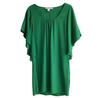 DVF Green Silk Blend Draped Stella Dress