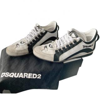 DSquared2 Grey, Black & White Lace-Up Trainers