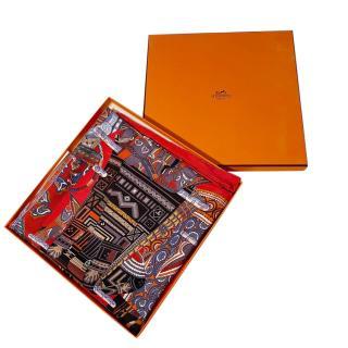Hermes Voyages En Etoffes Silk Scarf 90 & Scarf Tie Cards