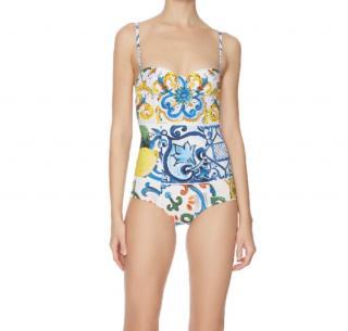 Dolce & Gabbana Sicily majolica Print Balconette Swimsuit
