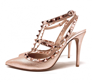 Valentino Metallic Rose Gold Rockstud Sandals