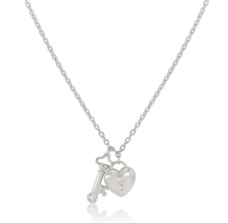 Tiffany & Co. Platinum Diamond Key & Lock Pendant