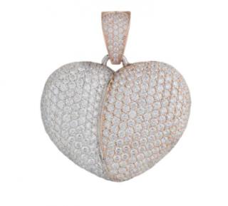 Jacob & Co 14ct White/Pink Gold Diamond Heart Pendant