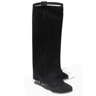 Givenchy Black Suede Foldover Boots with Alligator Embossed Trim