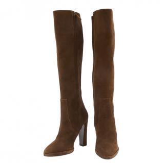 Hermes Brown Suede Knee Boots