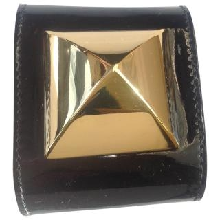 Giles Decon for Mullberry leather & gold cuff bracelet
