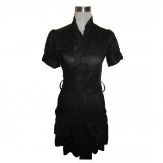 Marc Jacobs Black Cotton Belted Dropped Waist Button Ruffle Dress. Sz 4.