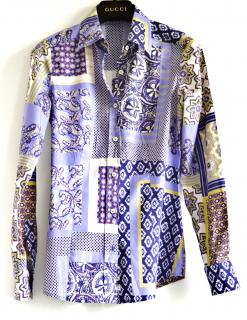 ETRO patchwork paisley print  stretch cotton fitted shirt