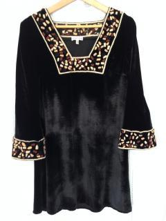 Vintage Allegra Hicks panne velvet dress with embroidered cuffs