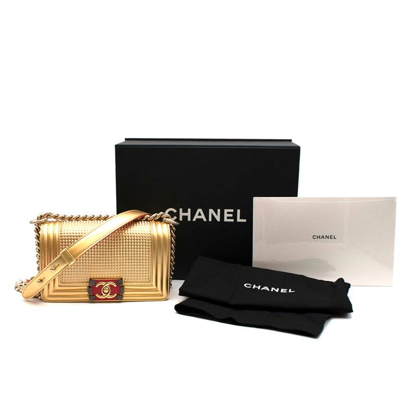 Chanel Metallic Gold Small Cube Boy Bag