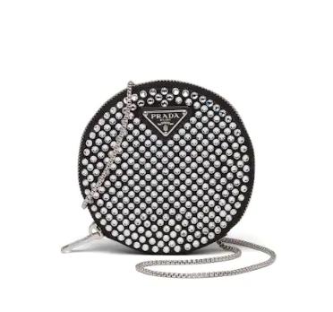 Prada Black Faux Crystal Embellished Round Satin Crossbody Bag