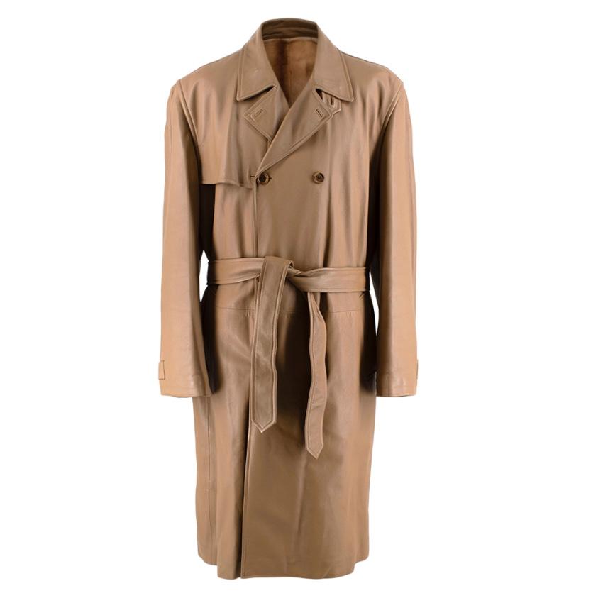 Loewe Camel Lambskin Weasel Fur Lined Belted Trench Coat