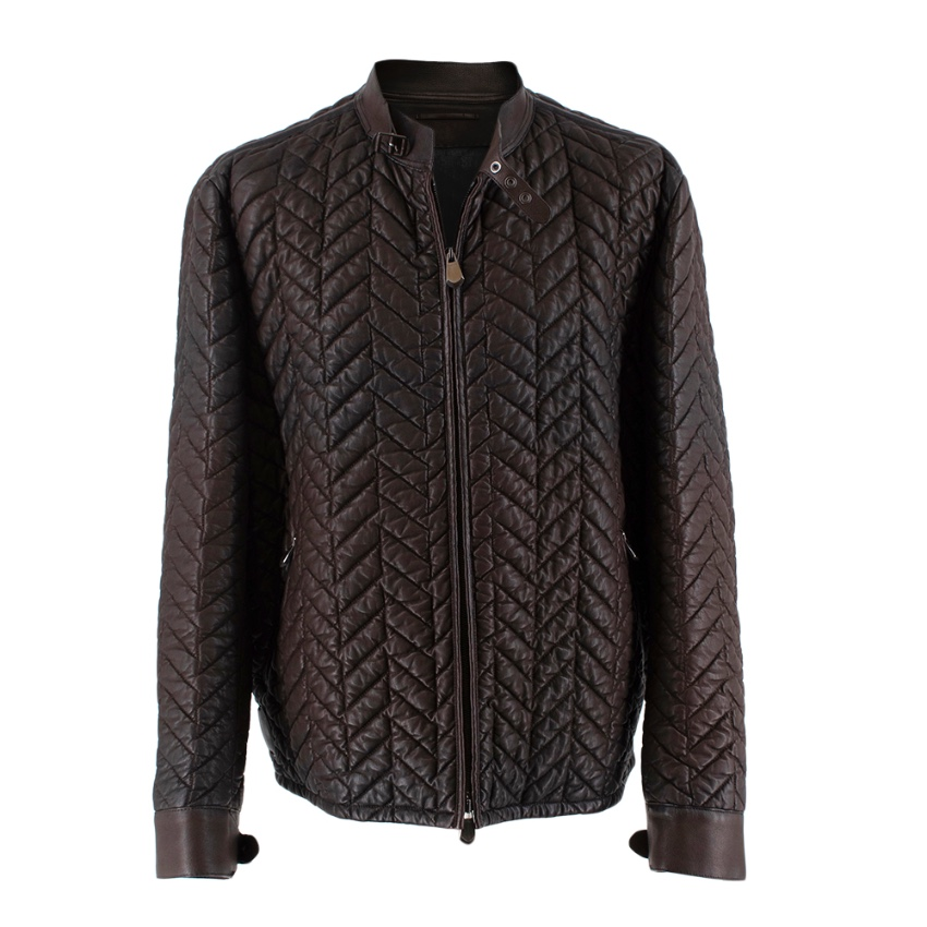 Berluti Brown Lambskin Chevron Leather Jacket