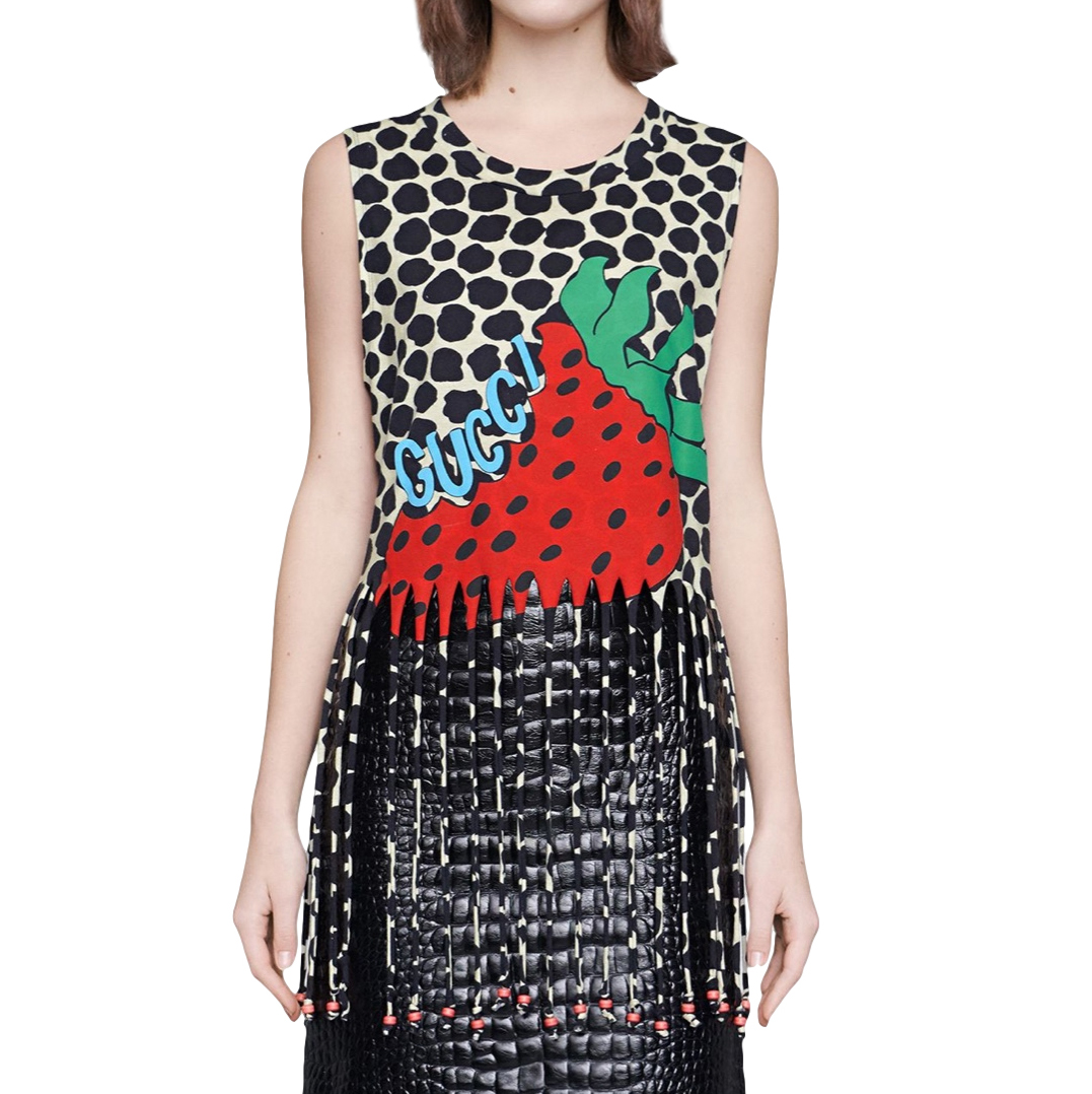 Gucci Fringed Multi-Print Sleeveless Top