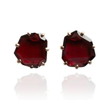 Annoushka Shard 18ct Rose Gold Garnet Stud Earrings