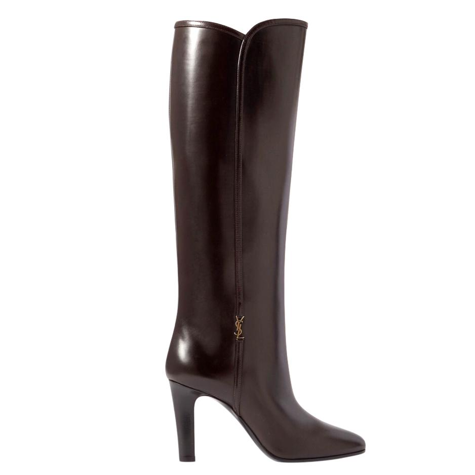 Saint Laurent Dark Brown Glossy Blu Knee Boots
