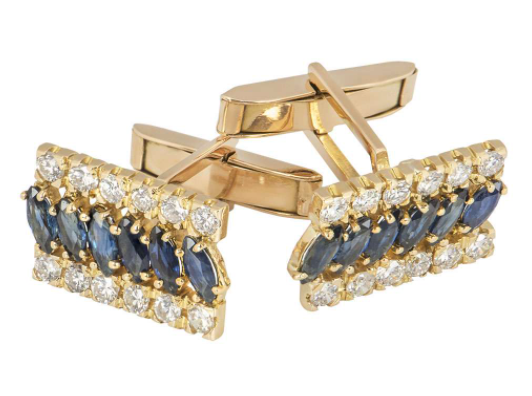 Bespoke Yellow Gold Diamond And Sapphire Cufflinks