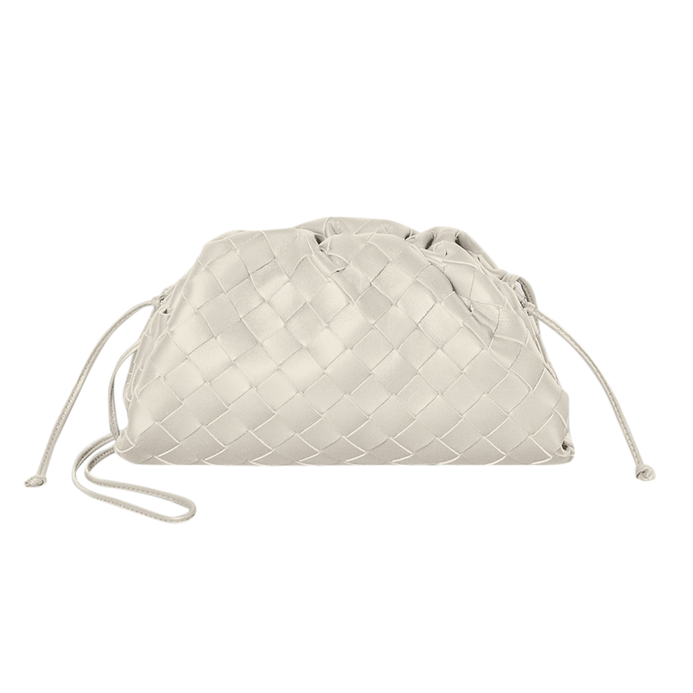Bottega Veneta Plaster White Intrecciato The Mini Pouch Bag