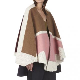Maje Wool Blend Colourblock Poncho