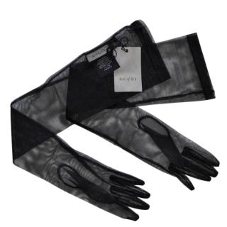 Gucci Black Sheer Tulle Runway Gloves