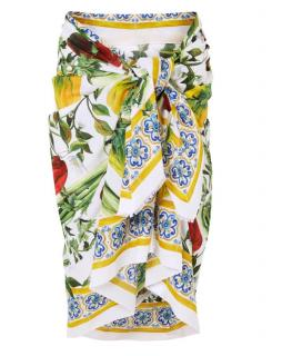 Dolce & Gabbana White Peppers Print Silk Wrap Scarf