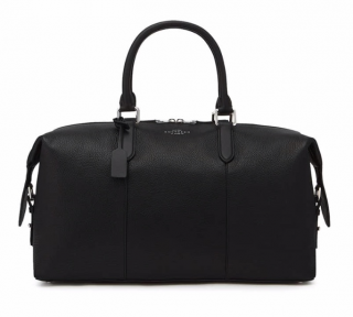 Smythson Black Grained Leather Burlington Holdall Bag