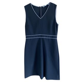 DVF Black Sleeveless Dress with B/W Woven Trim