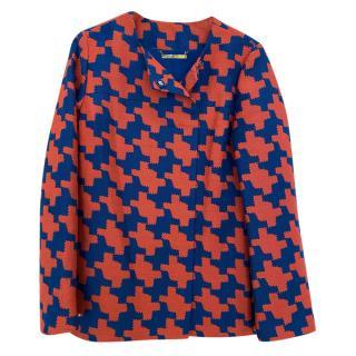 DVF Red/Blue Large Houndstooth Jacket