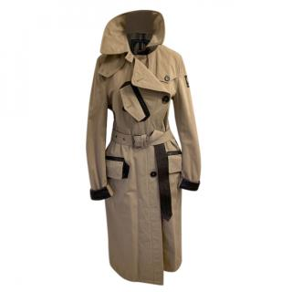 Belstaff Beige Garbadine Leather Trimmed Trench Coat
